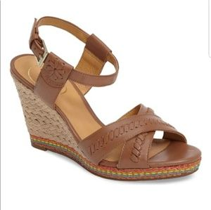 Jack Rogers Abbey Brown Leather Jute Wedge Sandal
